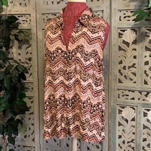 PLUS PINK AND BROWN SLEEVELESS FLORAL TOP